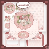 Scalloped round cutout easel card set pink roses