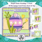 Easter Greetings 7.5 Inch 3D Decoupage Card Front, Insert & Tag