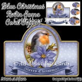Blue Christmas Robin Card Topper