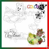 ornament mouse and sentiment Digi stamp