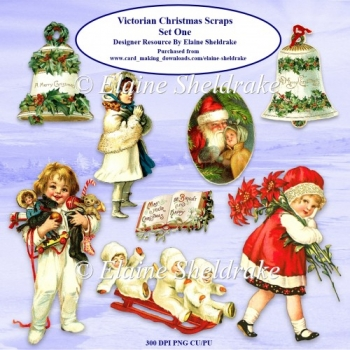 Victorian Children Christmas Scraps Set One For Paper Crafts