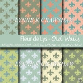 Fleur de Lys - OLD WALLS digital paper pack with 8 A4 papers