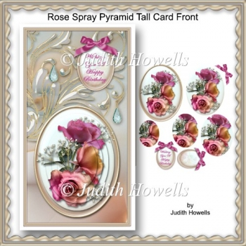 Rose Spray Pyramid Tall Card Front