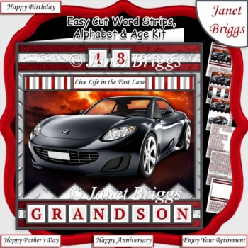 BLACK SPORTS CAR Easy Cut Family Word Strips, Alphabet & Ages