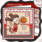 BASKETBALL GIRL 7.5 Decoupage & Insert Card Kit