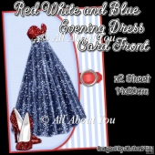 Red White and Blue Evening Dress Card Front