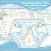 Great Expectations Baby Boy Announcement Nappy Card