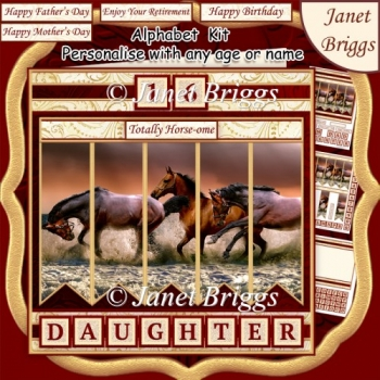 HORSES IN SEA Alphabet and Age Quick Card Kit Create Any Name
