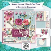 Amour Vintage Floral Layered 7.5 inch card Front with Insert