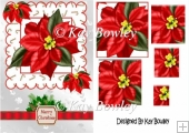 Red Poinsettias in ornate frame pyramids A5