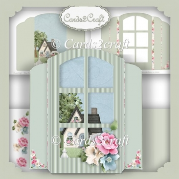 Standalone window,cottage and roses card