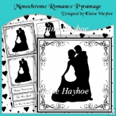 Monochrome Romance Pyramage with Hearts Backing Paper