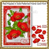 Red Poppies In Gold Patterned Frame Card Front