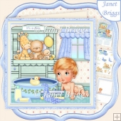 BABY BOY BATHTIME 8x8 Decoupage & Insert Kit