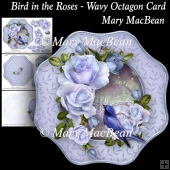Bird in the Roses - Wavy Octagon Card