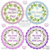 MUM - Mothers Day or Birthday - Four 10 cm Round Toppers - PU/CU