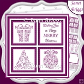 CHRISTMAS ICONS SQUARES PLUM 7.5 Quick Layer Cards & Insert Kit