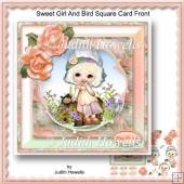 Sweet Girl And Bird Square Card Front