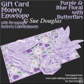 Purple & Blue Floral with Butterflies Card/Money Envelope Kit