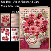Red Posy - Pot of Flowers A4 Card