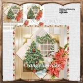 Christmas window scene card with decoupage