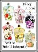 Fancy Floral Bottle Embellishments Set of 6