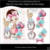 Time for Cup Cakes Topper with Decoupage