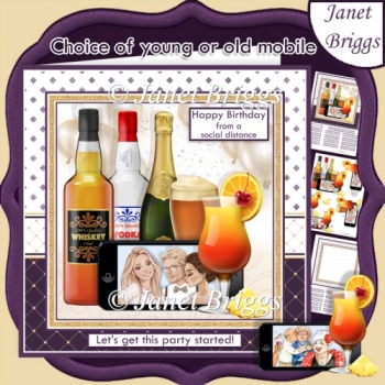 SOCIAL DISTANCING PARTY Humorous 7.5 Decoupage Card Kit
