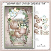 Bear With Basket Of Flowers Large Card Front