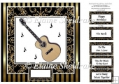 "Acoustic Guitar - 8"" x 8"" Card Topper"
