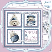 CHRISTMAS WESTIE SQUARES BLUE 7.5 Quick Layer Card & Insert