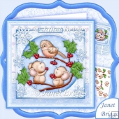 Pass the Parcel Mice & Robin 8x8 Christmas Decoupage Kit