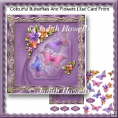 Colourful Butterflies And Flowers Lilac Card Front