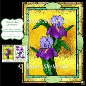Stained Glass Iris Window - Card Topper With Decoupage
