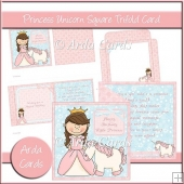 Princess Unicorn Square Tri Fold Card