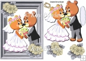 Lovely bear wedding couple in silver frame A5