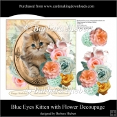 Blue Eyes Kitten with Flower Decoupage