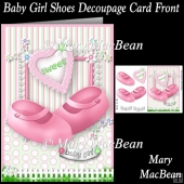 Baby Girl Shoes Decoupage Card Front
