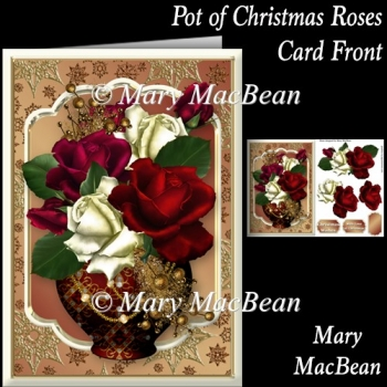 Pot of Christmas Roses Card Front