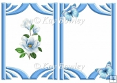 pretty blue magnolias with butterflies A5 insert