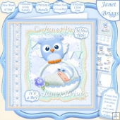 WHOO HOO IT'S A BOY New Baby 7.5 Decoupage & Insert Kit