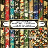 Japanese Washi Papers - Set Two - Ten Sheets Of 12 x 12