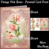 Vintage Pink Roses - Pyramid Card Front