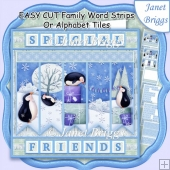 PENGUIN PARTY Easy Cut Word Strips or Alphabet Tiles Word Kit