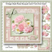 Vintage Style Rose Bouquet Card Front And Insert
