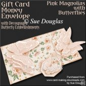 Pink Magnolias with Butterflies Card/Money Envelope Mini Kit