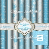 Blue Christmas Words 8 x 8 Coordinating Backing Papers