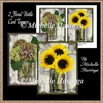 2 Floral Bottle Card Toppers