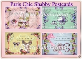 Paris Chic Shabby Postcard Collages Set