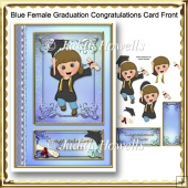 Blue Female Graduation Congratulations Card Front